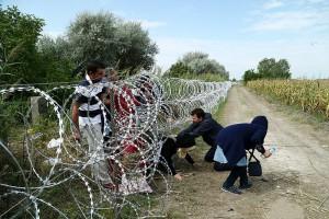 Flüchtlinge beim illegalen Grenzübertritt