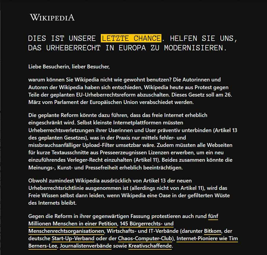 Wikipedia down