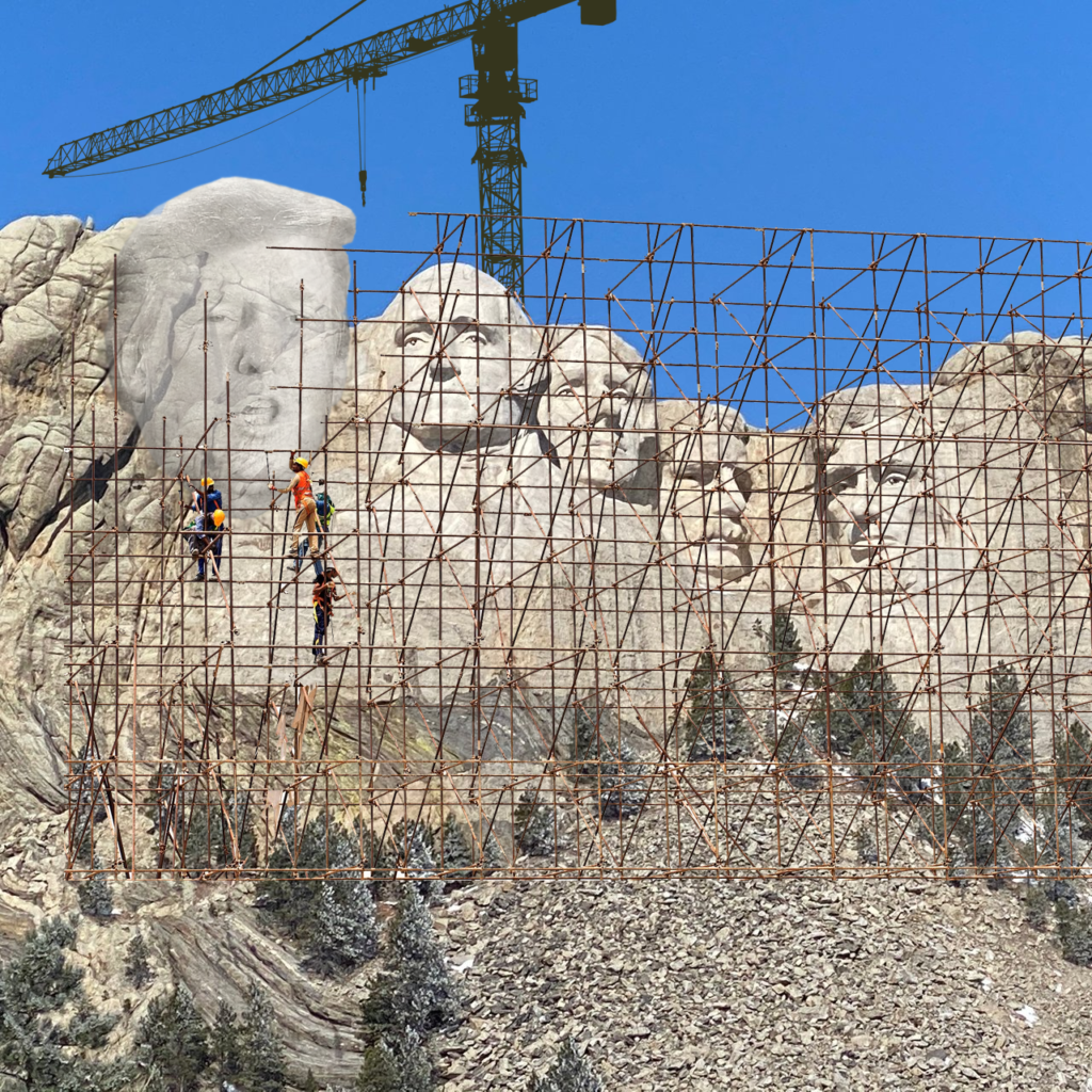 Mount Rushmore National Memorial mit Donald Trump Bauarbeiten