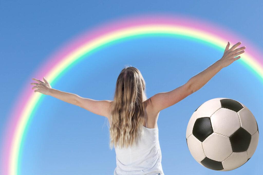 Regenbogen plus Fußball